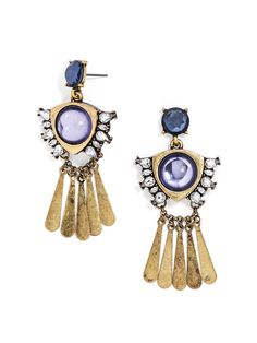 Lavender cabochons with crystal wings take on extra mobility with long, metallic fringe. Antiqued gold gives these earrings a weathered look.