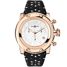 Glam Rock Watches / Rose Gold IP Stainless Steel Case Cover and Flower Design Genuine Saffiano Leather Black Strap