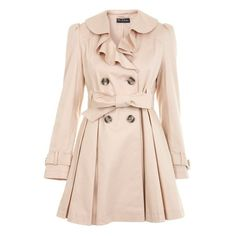 Beige Frill Front Trench ❤ liked on Polyvore