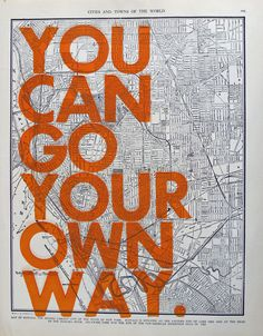 Buffalo  / You Can Go Your Own Way/ Letter Press on by amyriceart, $40.00