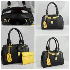 Our Small Kangaroo Satchel customized in Black body, Yellow pouch, with Black inside lining, Gold metalwork and a contrast color embroidered hanging tag monogram :) See more at: http://www.toteteca.com #customized #monogram #chic