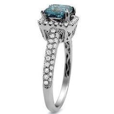 1.84ct Blue Princess Cut Diamond Engagement Ring 18k White Gold / Front Jewelers Cinderella Engagement Rings, Diamond Engagement Rings, Gold Fronts, Princess Cut Diamonds, Colored Diamonds, White Gold, Fancy, Jewels, Blue