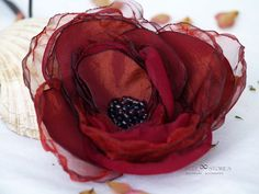 Hair Clips –  Burgundy Red Silk Rose Flower, Millinery Flower  – a unique product by MyFlowerAccessories on DaWanda