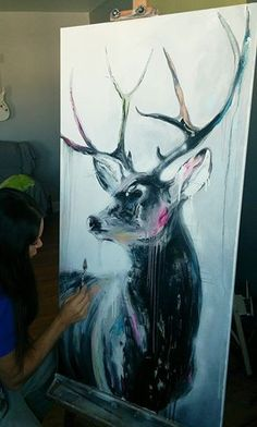 Black White Toile Home Decor x Window Valance - Home Style Corner Painting Inspiration, Art Inspo, Drawn Art, Deer Art, Animal Paintings, Deer Paintings, Wildlife Art, Love Art, Painting & Drawing