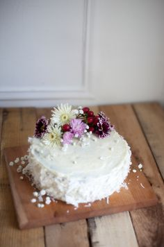 a birthday: white cake with lemon buttercream and raw coconut — Engrained