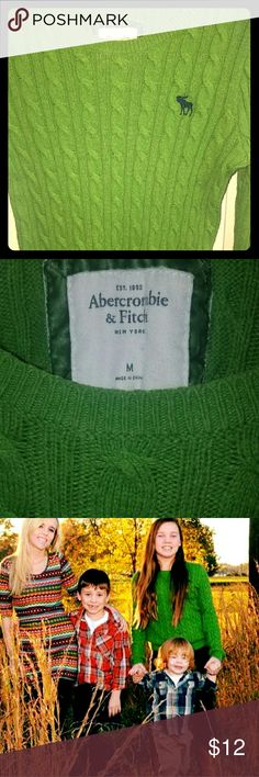 Abercrombie & Fitch sweater, M, green, blue logo! Abercrombie and Fitch sweater, size medium, green with a navy A&F logo, a ribbed, vertical design in the material, my daughter wore it for fall pictures & maybe once more,  in great shape! Medium thickness, looks very high quality! Abercrombie & Fitch Sweaters Crew & Scoop Necks