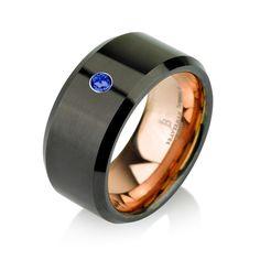 Black Tungsten Ring Rose Gold Wedding Band Blue by BravermanOren