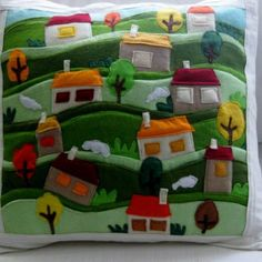Items similar to Felt Applique Pillow Cover on Etsy Applique Pillows, Felt Applique, Wooly Bully, Felt Crafts Diy, Pillow Inspiration, Boy Quilts, Sewing Appliques, Penny Rugs, Scatter Cushions