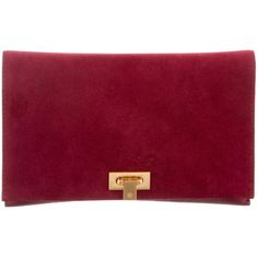 Pre-owned Tory Burch Suede Carmen Clutch ($125) ❤ liked on Polyvore featuring bags, handbags, clutches, burgundy, purse clutches, red handbags, burgundy clutches, man bag and red clutches
