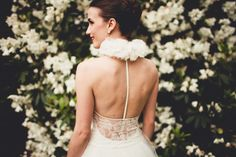 Non-traditional wedding dress with unique neckline and back.  #weddingdress #uniquebackweddingdress