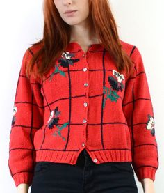 90s Red Cropped Cardi Window pane Plaid by TrendyPantsVintage