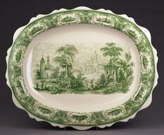 Green Castle Toile Porcelain Platter
