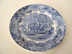 Petrus Regout Maastricht Plate Indian Trafic Made in Holland White/Blue OLD! #PetrusRegoutMaastricht