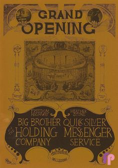 Classic Poster - Big Brother and the Holding Company at Continental Ballroom 7/14 & 15/67 by Grasshopper.  Famous Santa Clara rock venue from the 60's.