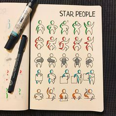 via @morganhlane on Instagram @therevisionguide Another catch up, this time it's star people! Found this one tricky! #revisionguide_52wvv #52wvv_week6 #doodles #sketching #cartoons #sketchnotes #visualthinking #leuchtturm1917 #copicmarkers #kurecolor #graphgear1000