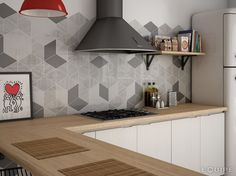 Creative Geometrics Tiles used as splashback tiles in a kitchen to create a trendy decorative look. Kitchen Wall Tiles, Ceramic Wall Tiles, Wall And Floor Tiles, Kitchen Soffit, Kitchen Backsplash, Rhombus Tile, Geometric Tiles, Grey Kitchens, Cool Kitchens