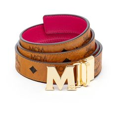 "MCM Color Visetos Reversible Belt 1"""" ($275) ❤ liked on Polyvore featuring accessories, belts, genuine leather belts, reversible leather belt, 100 leather belt, leather buckle belt and real leather belts"