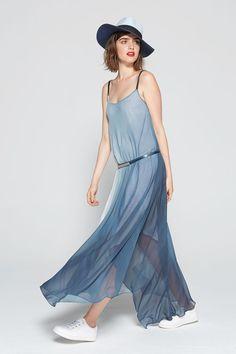 Robe longue bleue cop copine