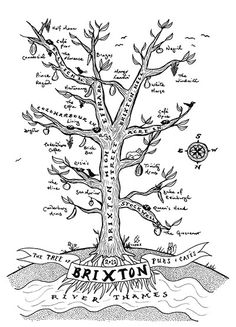 """Artist Liam Roberts, originally from Canada, created a map of his adopted south London neighbourhood, Brixton, in the form of a tree, with its pubs and cafes represented as fruits and nests. He says: """"You'll notice that north is 'down' and south is 'up' – partly because Brixton's roads better resemble a branching, forking tree this way."""" It was first featured in Londonist's hand-drawn map series and later updated with some new watering holes. His maps are available to buy on folksy.com"""