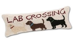 Lab Crossing Horizontal Hooked Pillow - Beige $54.00 at Horse and Hound Gallery