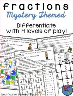 Awesome differentiation to meet all levels of understanding about fractions. Have all the students in your classroom practicing exactly where they should be with these 14 fraction games while you work with small groups. You can even use them as an informal assessment. Math Help, Fun Math, Math Activities, Math Games, Teaching Resources, 5th Grade Math, Fourth Grade, Third Grade, Math Skills