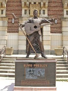 """A bigger than life statue of Elvis stands downtown in front of Shreveport's Municipal Auditorium. Elvis got his start right here in Shreveport at the Louisiana Hayride. The phrase """"Elvis has left the building"""" was coined in Shreveport. Bossier City Louisiana, Shreveport Louisiana, Elvis Presley Records, Matt Parker, Graceland, Southern Charm, Mississippi, New Orleans, Rock And Roll"""