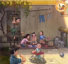 Childhood Memories Quotes, Childhood Days, Indian Illustration, Family Illustration, Heart Touching Story, Touching Stories, Iran Pictures, Sarra Art, Paintings