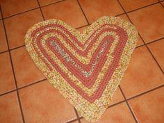 Dusky Orange and Yellow Heart Rag Rug