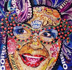 Loading Image A collage portrait made from snack wrappers! Collage Portrait, Collage Art, Collages, Portraits, Sweets Art, Sweet Wrappers, High School Art Projects, Recycled Art Projects, 6th Grade Art