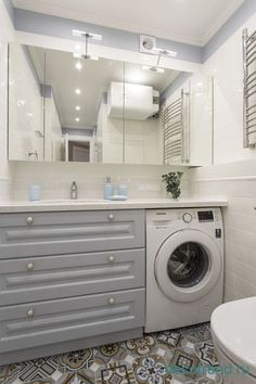 Every family home needs a laundry room, but not all homes have enough space for one. Here's how you can incorporate them in small bathroom. New Bathroom Designs, Bathroom Design Small, Bathroom Interior Design, Modern Bathroom, Bathroom Ideas, Industrial Bathroom, Bathroom Layout, Bathroom Renovations, Laundry Room Design