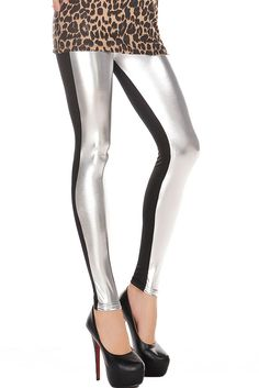 High Waist Metallic Leather Seamed Legging in Silver