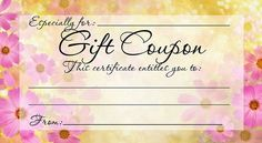 "DIY FREE, PRINTABLE GIFT COUPON - Give a gift from the heart this Mother's Day. What does Mom want that money can't buy? Present her with a promise to fulfill that wish! You can also use this ALL OCCASION ""certificate"" for anyone any time! More printables and other party stuff at http://www.photo-party-favors.com/"