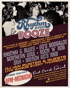 Rhythm and Booze at East Coast Social, 9 London Road, Southend-on-Sea, SS1 1TJ, UK. On Thursday September 11, 2014 at 7:00 pm to 12:00 am. Price: Free Entry, There is no doubt that the U.K has had a love affair from Rhythm and Blues to Rock n Roll, through to Tamla Motown, Stax, The Rolling Stones and the British 60's RnB boom. Honouring that, Rhythm and Booze brings you a night to enjoy Southend's coolest new venue. Category:	Live Music, Artists: Ian Punter.