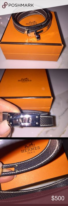 Hermes double wrap bracelet Grey small double wrap bracelet with Kelly Close Hermes Other
