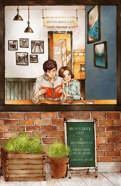 It was a leisurely afternoon at the cafe with the boy that captured my Love Cartoon Couple, Cute Couple Art, Couple Illustration, Illustration Art, Colorful Drawings, Art Drawings, Architecture Concept Drawings, House Drawing, Cute Cartoon Wallpapers