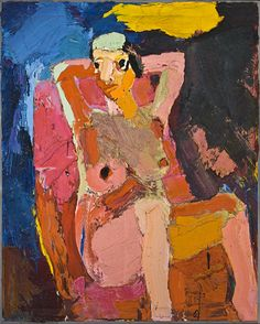 """Joan Brown. """"Girl on Chair"""" Painter and assemblage artist Joan Brown is considered part of the second generation of the Bay Area Figurative movement. Her best-known paintings prominently feature autobiographical scenes and symbols related to her spirituality."""