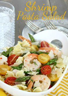 Pasta Salad Shrimp Pasta Salad - perfect side for summer grilling or add a baguette for a light summer supper. Shrimp Pasta Salad - perfect side for summer grilling or add a baguette for a light summer supper. Salad Recipes Video, Pasta Salad Recipes, Seafood Recipes, Cooking Recipes, Healthy Recipes, Healthy Meals, Dinner Recipes, Tortellini, Orzo