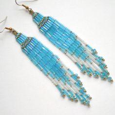Long Sapphire Brick Stitch Chandelier Earrings, beaded, beadwoven | MissChicBoutique - Jewelry on ArtFire