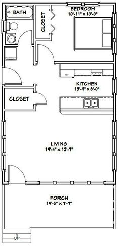 12x32 Tiny House -- #12X32H1 -- 384 sq ft - Excellent Floor Plans ...