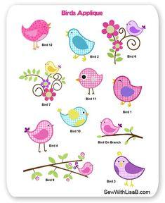 Birds Applique: SewWithLisaB.com