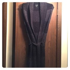NWOT! Black/Gray Sweater NWOT! Black/Gray Sweater. Short sleeved with tie.  Never worn. Junior size large. Love Always Sweaters Cardigans