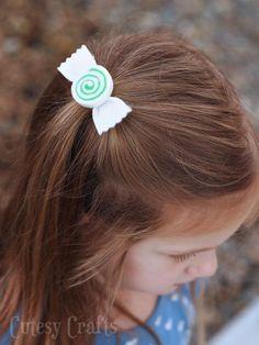 DIY Hair Bows : DIY Felt Peppermint Swirl Hair Bow