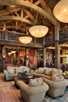 ♂ Masculine Interiors design living room space with arched natural wood beams