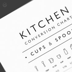 Kitchen Conversion Chart Cups & Spoons Kitchen Wall Decor | Etsy