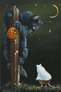 This would make a beautiful cross stitch pattern! - Drawing Still 2020 Retro Halloween, Halloween Kunst, Halloween Artwork, Halloween Painting, Halloween Pictures, Halloween Cat, Holidays Halloween, Happy Halloween, Halloween Decorations