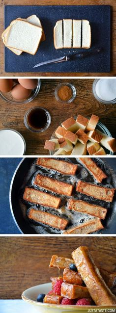 Easy cinnamon French toast sticks | Ingredients: 8 slices thick-cut Texas toast (See Kelly's Notes on link, 4 large eggs, 1 cup heavy cream, 2 1/2 teaspoons cinnamon, 1 Tablespoon sugar, 1 Tablespoon vanilla extract, (Unsalted butter, for cooking), & Maple syrup (for serving)