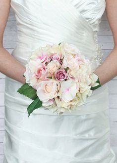 """Silk Rose and Hydrangea Wedding Bouquet in Pink and Cream 11"""" Tall"""