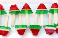 Watermelon jello shots on popsicle sticks!