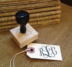 Custom Vine Monogram Hand Stamp // #JoieDeViePaperie on Etsy.com {for stationary, envelopes, gift tags, favor tags, bridal things, etc.}- #Monograms #MonogrammedStamp