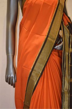 Rust Orange Heavy Ethnic Pure Mysore Crepe Silk Saree